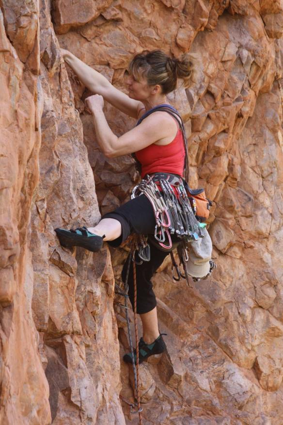 This was a stunning line in a fantastic location. Emma's deceptively relaxed position in this picture belies the difficulty and strenuous nature of the route. Click on the image and then click again to enlarge to full size.