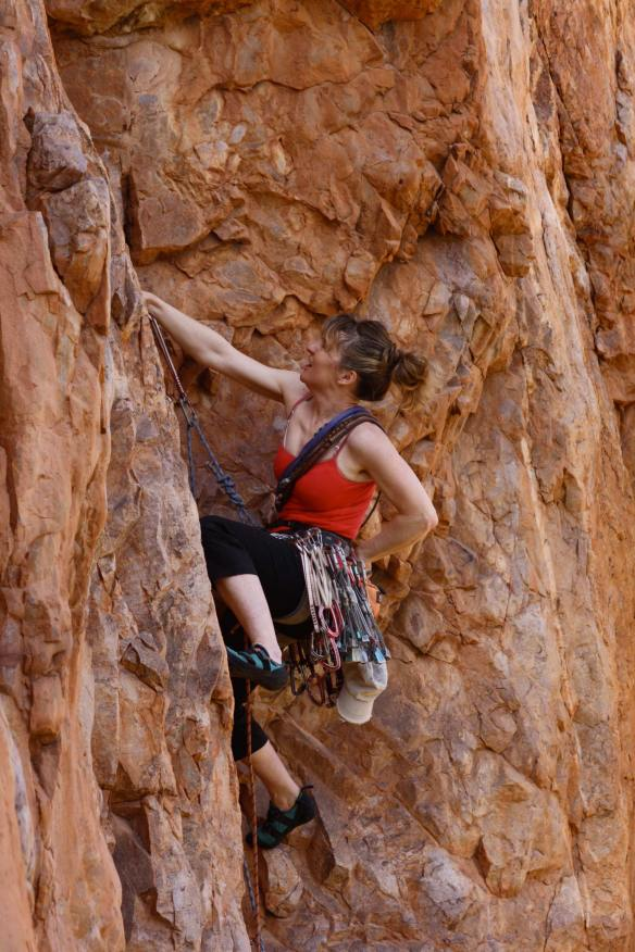 "Emma Alsford going for it on ""Monkey Shoulder"" E5 6a on the previously undiscovered crag ""The Lizard"", Tizi Escarpment, Anti Atlas, Morocco."