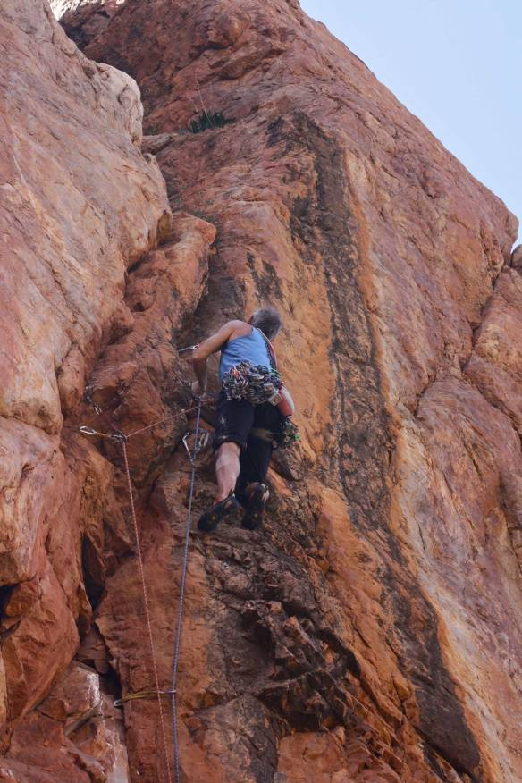 """Paul Donnithorne well on the way to completing the 1st ascent of """"Monkey Shoulder"""", at the previously undiscovered crag """"The Lizard"""", Tizi Escarpment, Anti Atlas, Morocco. Click on the image and then click again to enlarge to full size."""
