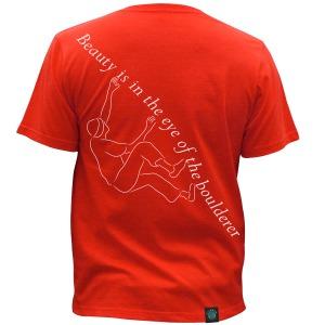 """""""Climber Change - Boulderer"""", Red, Unisex. Click image to enlarge."""