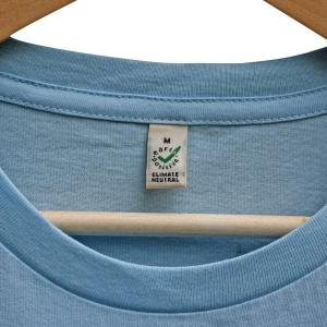 Neck hem, stitching detail and Earth Positive label. Click image to enlarge.